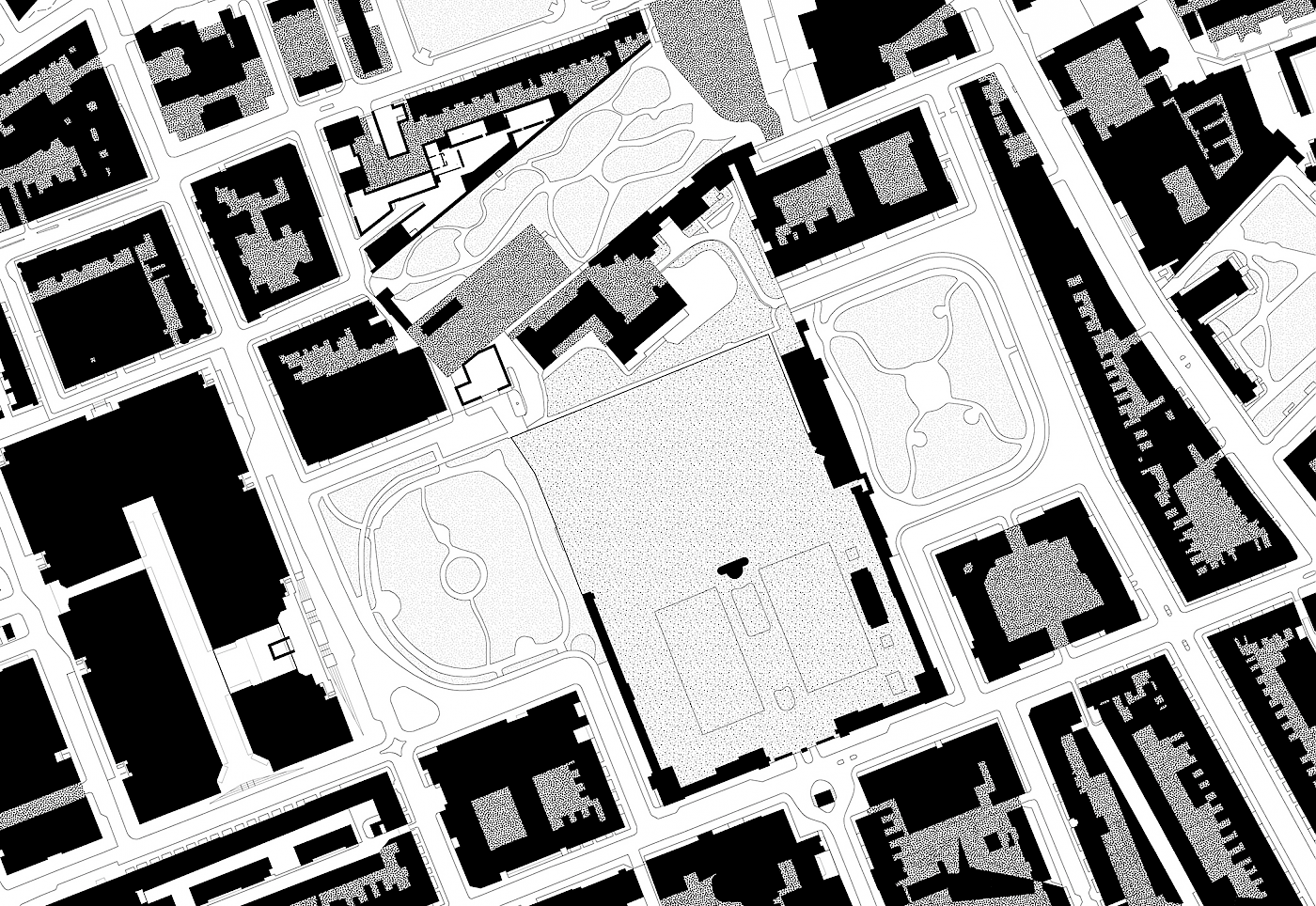 Streets, Squares, Religious, Cultural Space in white, Grass in lightest grey, Coram's Fields in grey, Private Gardens in darkest Grey, Private and Commercial in Black