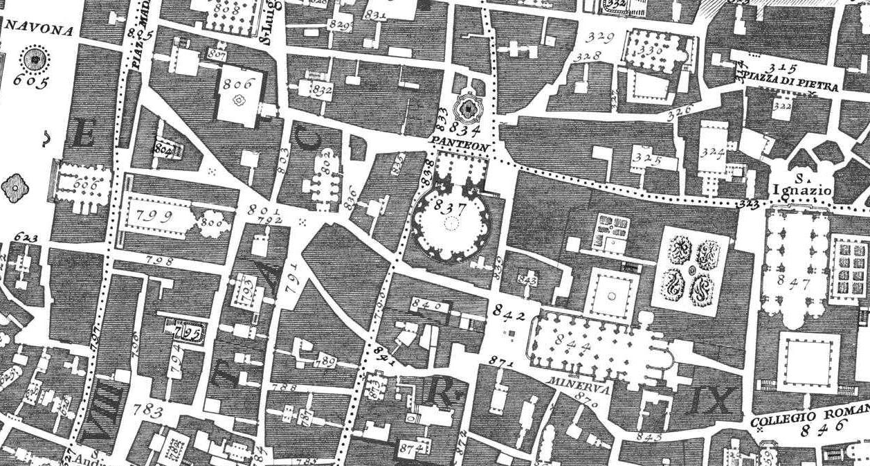 Extract from Nolli Map of Rome 1748