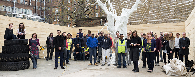 Under the branches of Ugo Rondinone: Installing at the Dairy Art Centre, students from Central Saint Martins joined The Dairy Art Centre Team to install Jon Armleder's